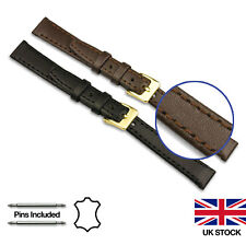 Mens Ladies Genuine Calf Leather and Nubuck Stitched Watch Strap 12-22mm Width