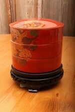 Asian 3 Tier Red Polychrome Round Stacking Food Warming Bowls Boxes Black Base