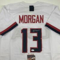 Autographed/Signed ALEX MORGAN White Team USA Soccer USWNT Jersey JSA COA Auto