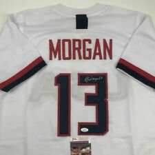Autographed/Signed ALEX MORGAN White Team USA Soccer USWNT Jersey JSA COA Auto