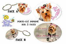porte clé ovale polymère chien yorkshire york personnalisé réf 10