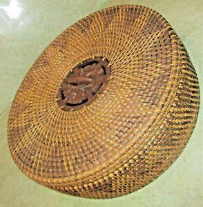 Hand Woven Crawdad Style Decorative 11x4 Basket W/Lid Pinpoint Star Design EUC