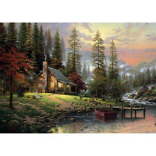 Oil Filling Diy On Canvas Paint By Number Tool Forest Hut Landscape Painting Z2A