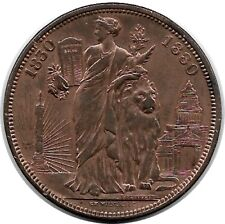 BELGIUM 1880 50th anniv. of Constitution medal-coin 5 Francs Cu (KM X#8a) EF