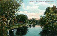 Taunton, Massachusetts,MA, Scene on Taunton River, Unused Vintage Postcard c2884