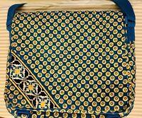 Vera Bradley Messenger Bag Crossbody Rivera Blue Retired Pattern