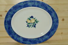 "Wedgwood Home Amway England Oval Serving Platter 14"" x 11 3/4"" Lemon/Blueberries"