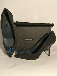 Pumps DOLCE & GABBANA 41 suede leather black/antracite +broche shoes high heels