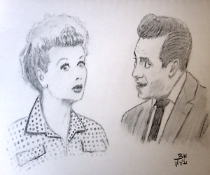 I LOVE LUCY ART/RICKY RICARDO/LUCILLE BALL ORIGINAL PENCIL DRAWINGS/PORTRAITS