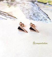 Men's Trendy Arrow Rose Gold Color Characters Hip Hop Titanium Stud Earrings