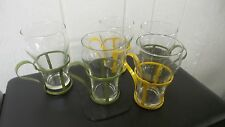 Set of 5 Vintage Soda Glasses with Metal Holder and Handle
