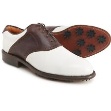 Justin Classic Saddle Golf Shoes White Chocolate Brown Leather 10.5 W Wide NIB