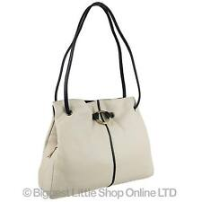 NEW Ladies Classic LEATHER TwoTone Shoulder HANDBAG GiGi OTHELLO Ivory Navy