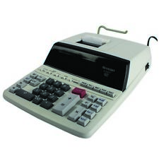 Sharp White 12-Digit Fluorescent Display Printing Calculator EL2607PGY