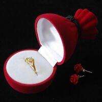 Gift Display Storage Creative Jewelry Box Velvet Ring Flower Pattern Case