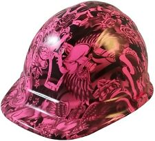 NEW!! Hot Pink Tattoo Hydro Dipped Hard Hat Cap with Ratchet Suspension