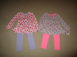 NWT Toddler Girls 18 Month 2T 3T 4T Valentines Two Piece Outfit Top and Leggings