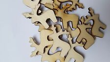 10 REINDEER WOODEN FOR CHRISTMAS CRAFTING CARD MAKING SCRAP BOOKING