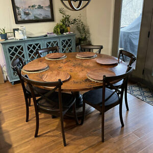 """42"""" Round Hammered Copper Table Top Conference Room Luxury Table Antimicrobial"""