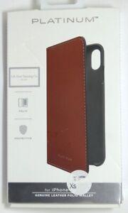 Platinum - Leather Folio Wallet Case for Apple iPhone XS Max - Papaya
