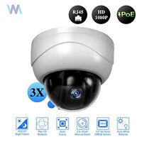 POE PTZ Dome 3X Optical Zoom IP Camera Network CCTV 1080P IR Night Security RJ45