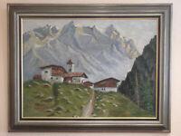 Ölgemälde - Bergdorf in den Dolomiten - Südtirol - sign. WWidu.....g