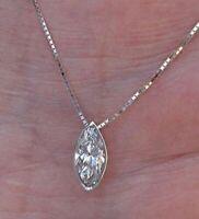 2 Ct Marquise Cut VVS1 Diamond Solitaire Pendant Necklaces 14k White Gold Finish