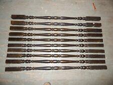 Set Of 9 Dark Brown Vintage Stair Balusters