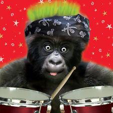 Gorila Mono Rocker Divertido Pelusa De Lujo 3D Tarjeta de felicitación de cumpleaños los amantes de animales