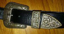 Vintage San Marcos Leather & Silver Belt