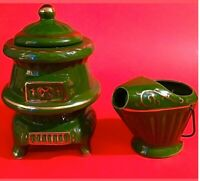 CREAMER & SUGAR SET POTBELLY STOVE & ASH BUCKET GREEN GOLD ACCENT GREEN VINTAGE