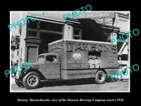 OLD LARGE HISTORIC PHOTO OF BOSTON MASSACHUSETTS THE DAWSON BREWERY TRUCK c1930