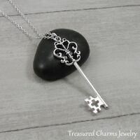 Silver Ornate Key Pendant Necklace - Fancy Skeleton Key Jewelry NEW