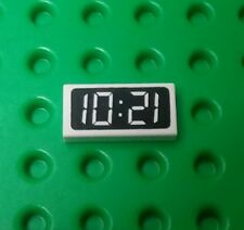 *NEW* Lego 1x2 White Digital Clock 1021 Tile 1201 Time Printed Plate x 1 piece