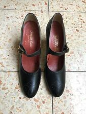 Womens Vintage Black Leather high heel Mary Janes size 8 AA