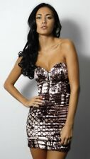 BNWT RARE Graphic Print Strapless Tube Satin Look Party Dress Size UK 6 RRP £49