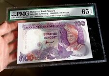 1988 Malaysia RM100 (Printer H&S) Last Prefix AP3172720 PMG 65 EPQ