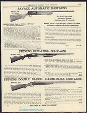 1948 SAVAGE Model 745 STEVENS 620, 530 Shotgun AD Antique Old Gun Advertising