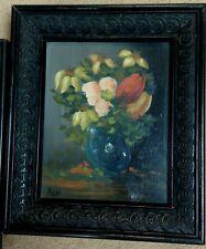 Original Oil Still Life SPRING FLOWERS signed REMI in Black Ornate Wood Frame