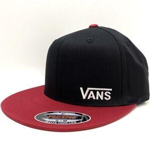 VANS SPLITZ BLACK CHILLI PEPPER RED FLEXFIT CAP HAT (S/M)