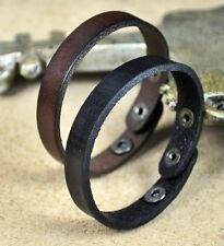 2pc Simply Single Band Surfer Genuine Leather Bracelet Wristband Black&Brown