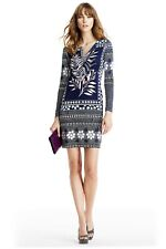 nwt dvf reina long leaf plmt indigo/zig zag bands id size 0 tunic silk dress