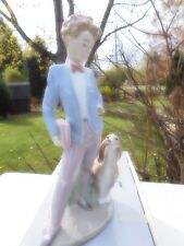 """Lladro """"Sunday's Child"""" Boy with Dog & Book #6023 Excellent Condition!"""