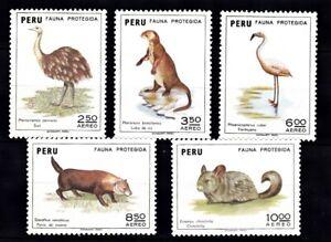 PERU #C372-C376 MNH PROTECTED ANIMALS: RHEA, OTTER, FIAMINGO, BUSH DOG,