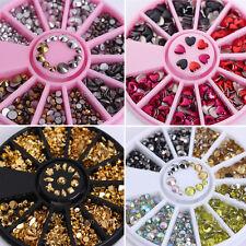 4box 3D Round Nail Art Tips Acrylic Glitter Rhinestones Wheel Decoration DIY