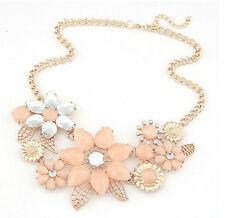 Fashion Charm Luxury Resin Crystal Drop Big Flower Golden Choker Bib Necklace