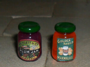 TWO HAND-MADE DOLLS' HOUSE 1/12TH SCALE VICTORIAN JAM AND MARMALADE JARS