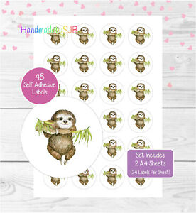 Sloth Stickers, 48 Round Labels, For Envelope Seals/Party Bags/Favours/Gifts