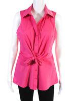 Finley Women's Sleeveless Button Down Collared Top Cotton Pink Size Medium