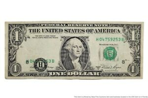 1981-A Error Misprint Seal Over Serial Federal Reserve Note $1 One Dollar Bill